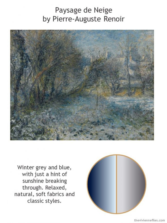 2. Paysage de Neige b Renoir with style guidelines and color palette