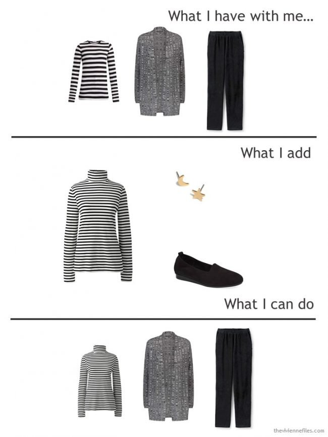 2. adding a black striped turtleneck to a travel wardrobe