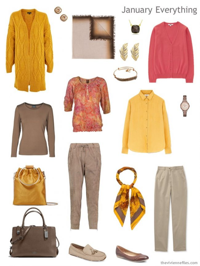 3. Winter travel capsule wardrobe in gold, brown and pink