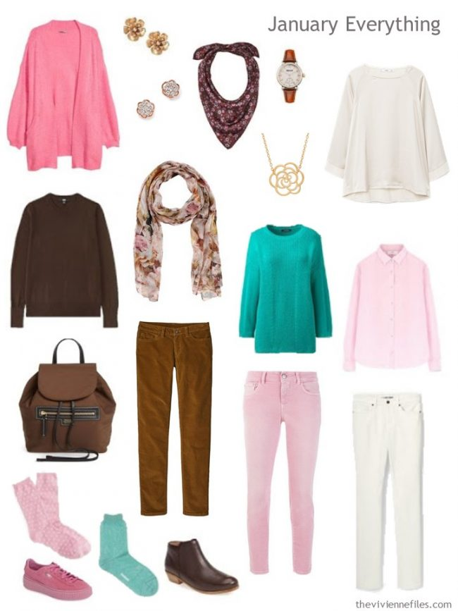 3. Winter travel capsule wardrobe in brown, pink, ivory and green