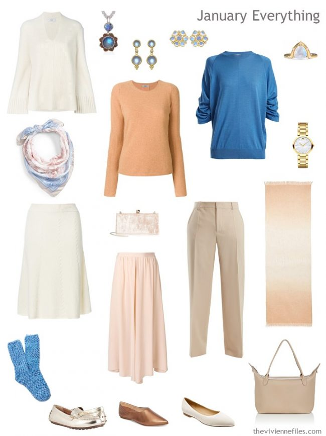 3. Winter travel capsule wardrobe in ivory, peach and teal
