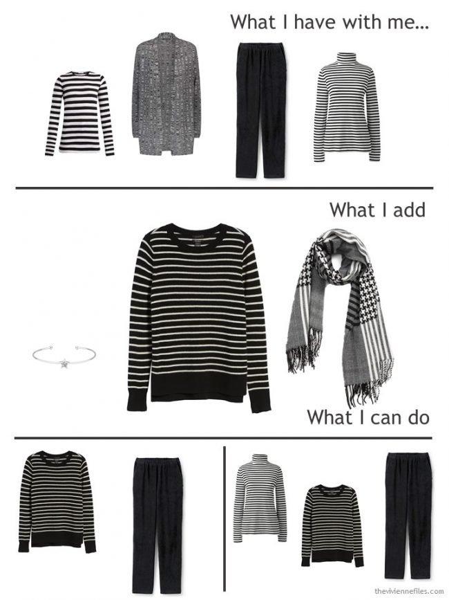 3. adding a striped cashmere sweater to a travel capsule wardrobe