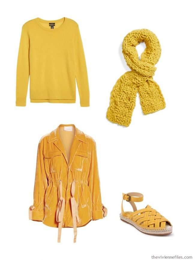 3. adding goldenrod accents to a wardrobe
