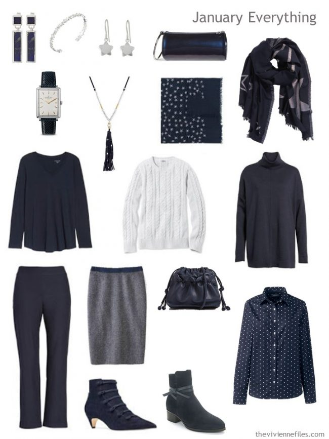 3. cold weather travel capsule wardrobe in navy and white