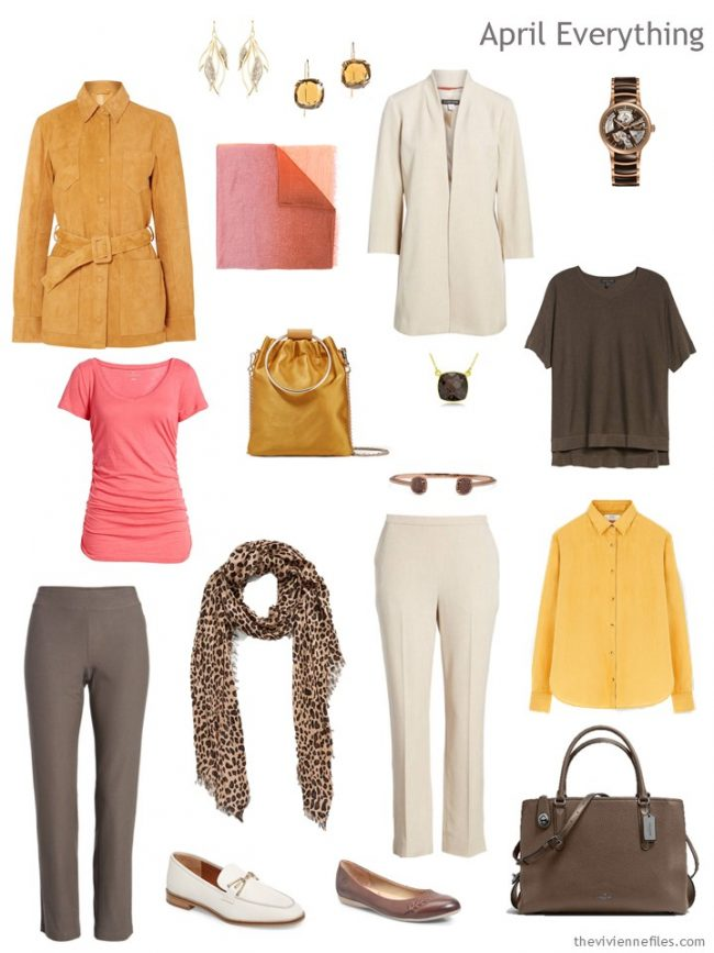 4. Spring travel capsule wardrobe in brown, gold, pink and beige