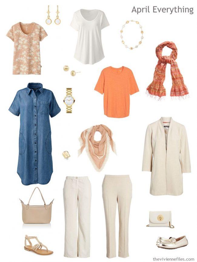 4. Spring travel capsule wardrobe in ivory, teal and orange