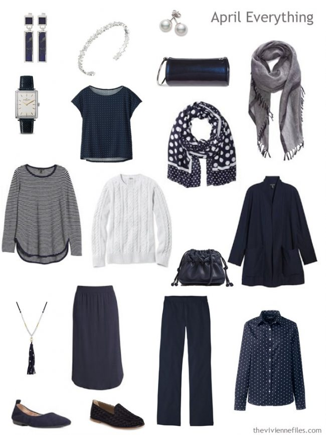 4. spring travel capsule wardrobe in navy and white