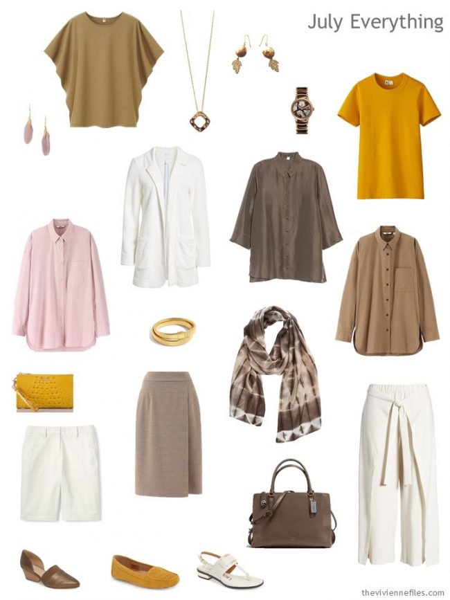 5. Summer travel capsule wardrobe in gold, brown, ivory and pink