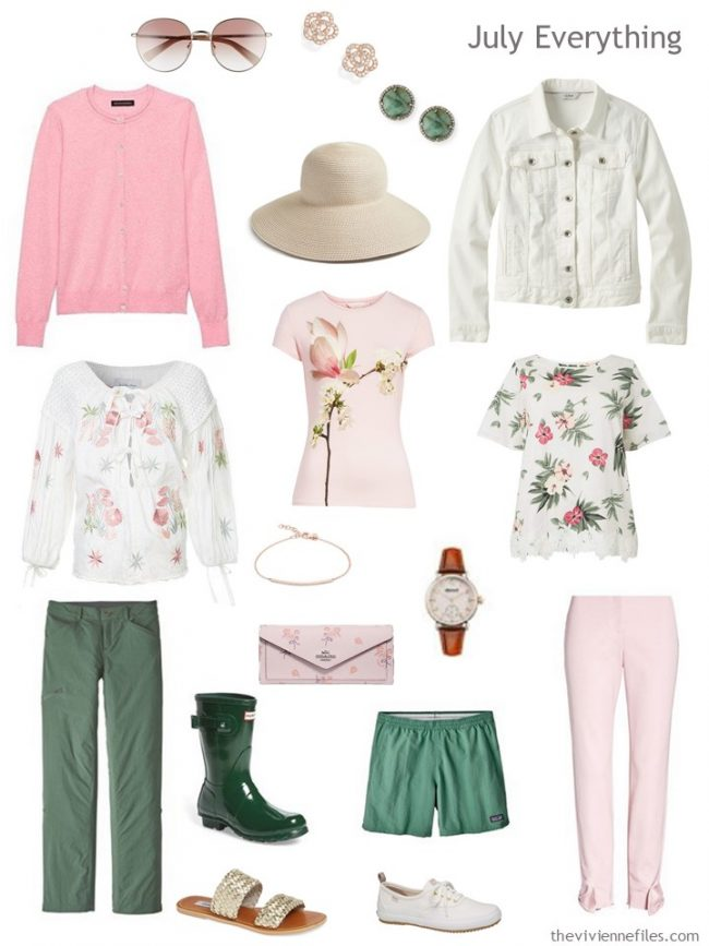 5. Summer travel capsule wardrobe in green, pink, and ivory