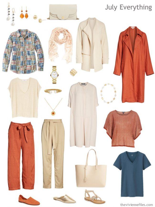 5. Summer travel wardrobe in orange, beige and teal