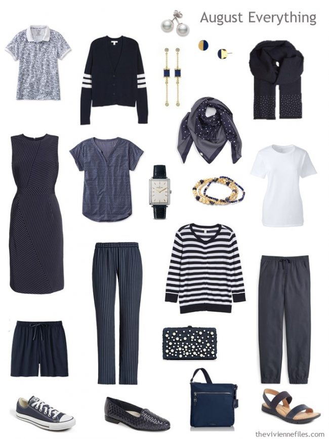 5. summer travel capsule wardrobe in navy and white