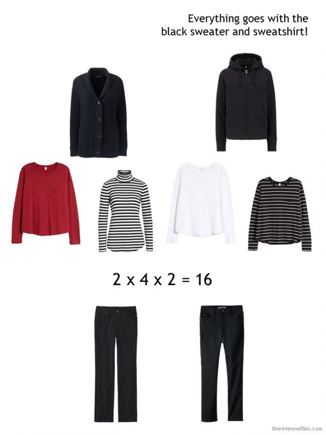 5. wearing a black cardigan or sweatshirt in a winter capsule wardrobe