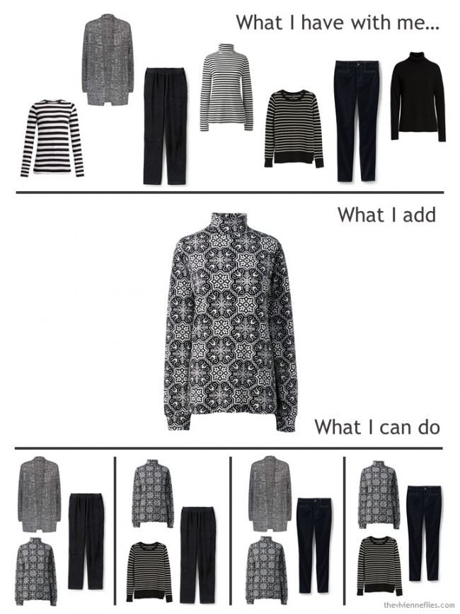 6. adding a black & white print cotton turtleneck to a travel capsule wardrobe
