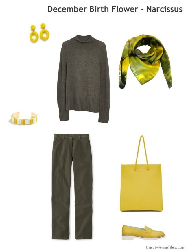 6. adding yellow accessories to olive green