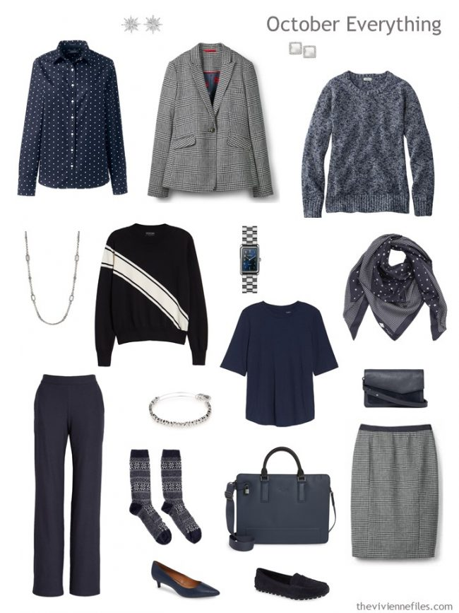 6. autumn travel capsule wardrobe in navy and white