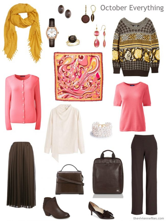 6. autumn travel capsule wardrobe in pink, brown, gold, and ivory