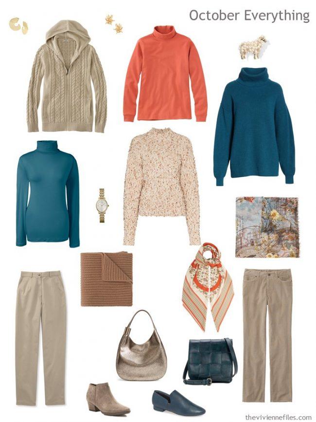 6. autumn travel wardrobe in orange, beige and teal