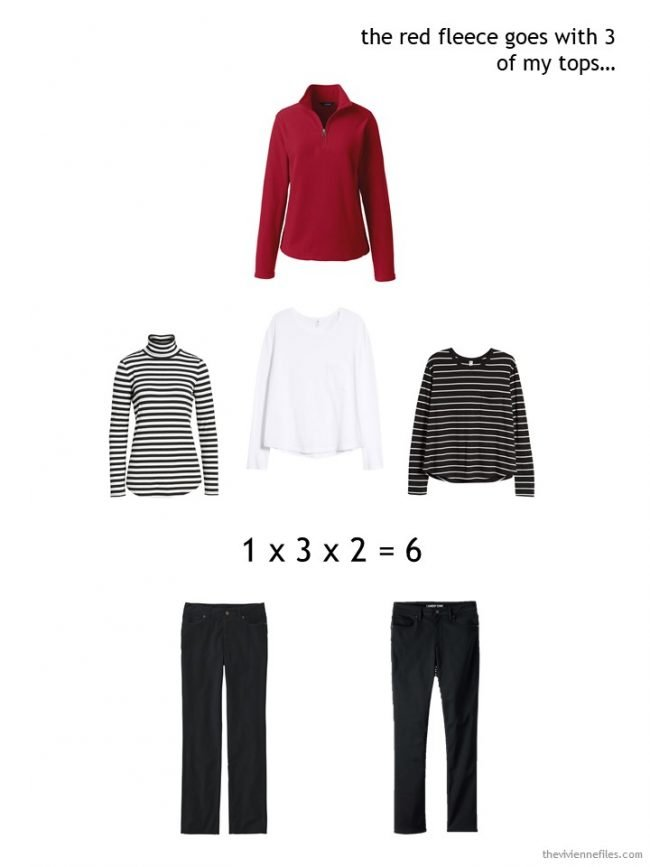 6. wearing a red fleece top in a winter capsule wardrobe