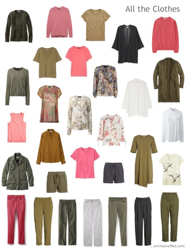 7. Clothes in a capsule wardrobe of grey, green, ivory, gold and pink