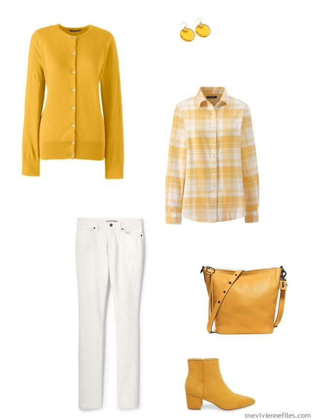 7. an outfit in mustard yellow and white
