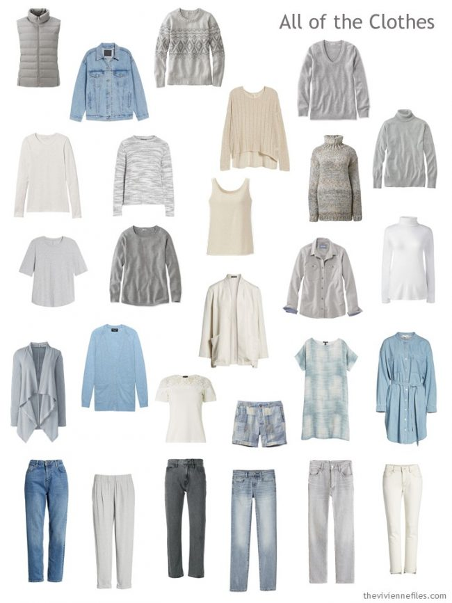 7. capsule wardrobe in beige, grey, blue and cream
