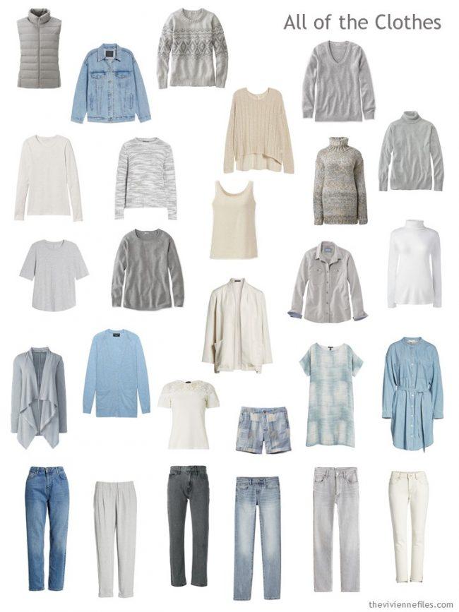 7. capsule wardrobe in beige, grey, blue and cream
