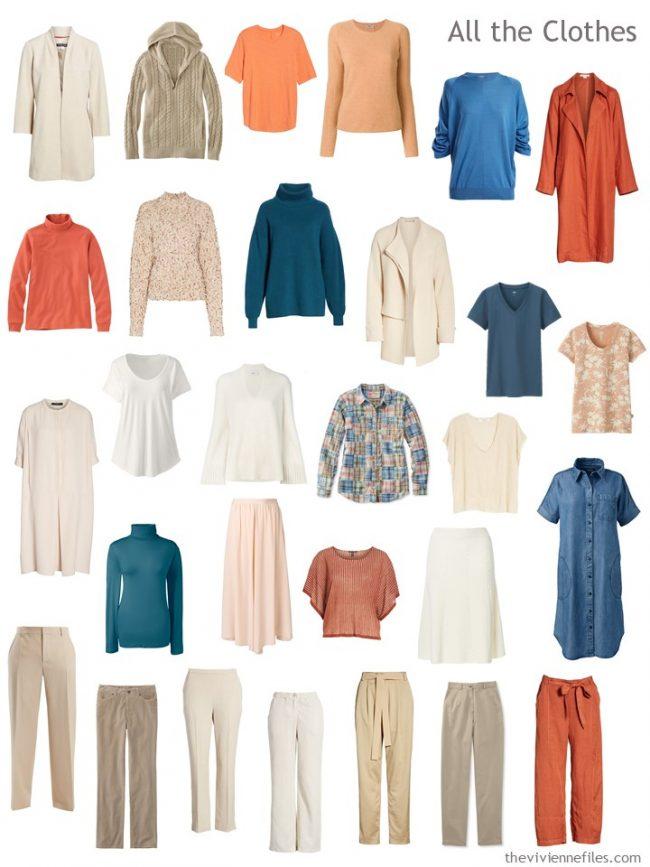 7. capsule wardrobe in beige, orange, ivory and teal