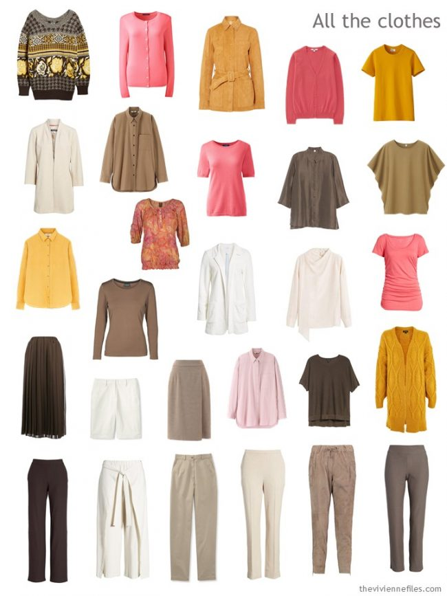 7. capsule wardrobe in brown, gold, ivory and pink
