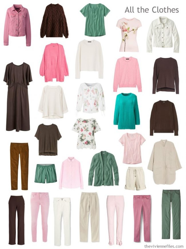7. capsule wardrobe in brown, green, pink and ivory