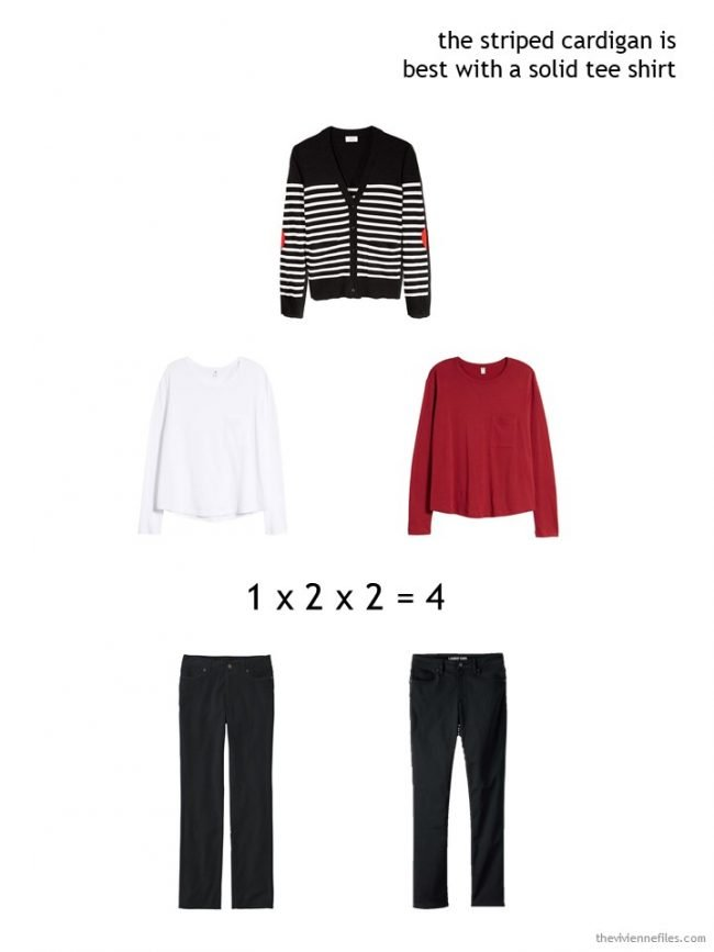7. wearing a black and white cardigan in a winter capsule wardrobe