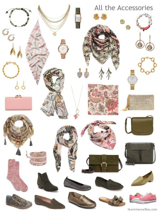 8. Accessories for a capsule wardrobe of green, grey, pink, and gold