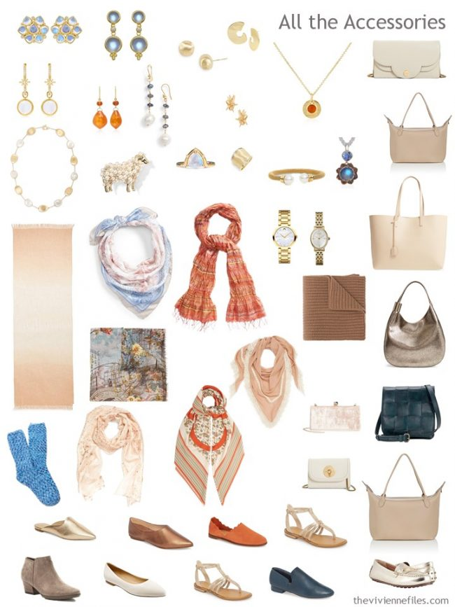 8. accessories for a beige, teal and orange capsule wardrobe