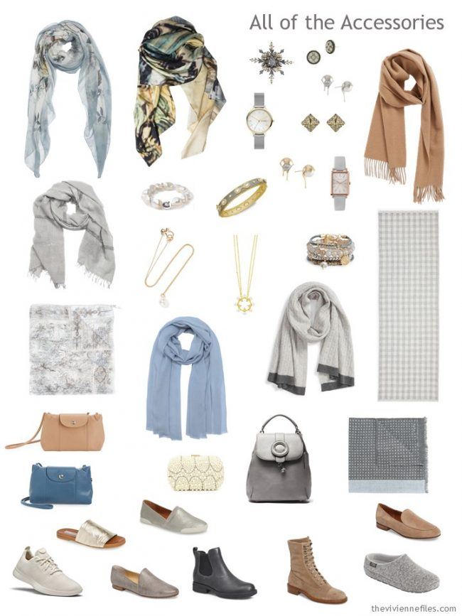8. accessories for a capsule wardrobe in beige, grey, blue and cream