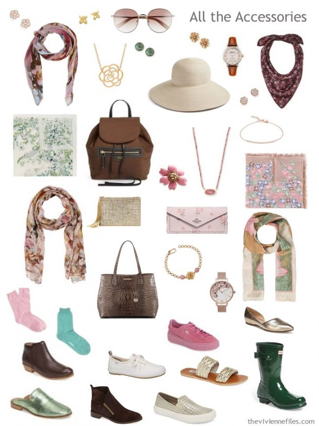 8. accessories for a capsule wardrobe in brown, green, pink and ivory