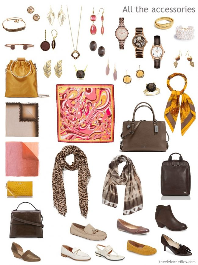8. accessories for a capsule wardrobe in pink, brown, gold and ivory