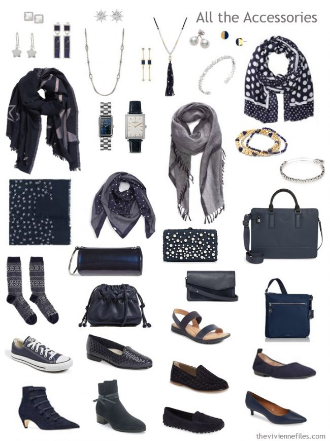 8. accessories for a navy and white capsule wardrobe
