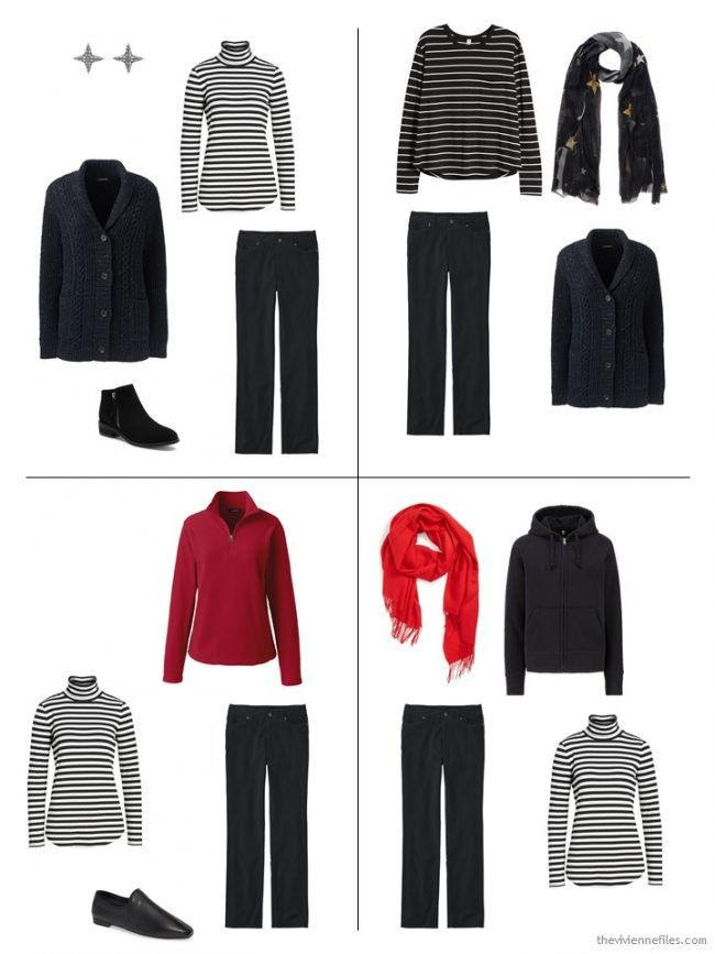 9. 4 outfits from a 10-piece winter capsule wardrobe