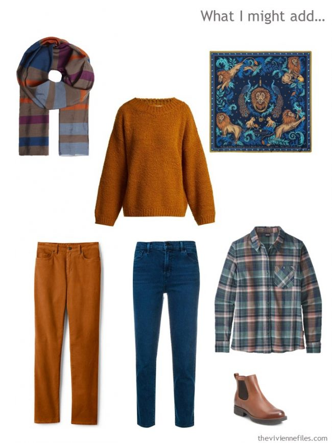 9. Winter additions to a capsule wardrobe in rust, beige and teal