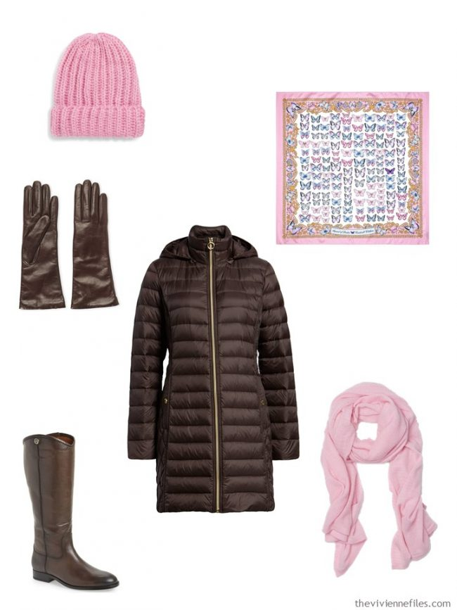 9. adding a winter coat ensemble to a capsule wardrobe in brown, pink, green and ivory