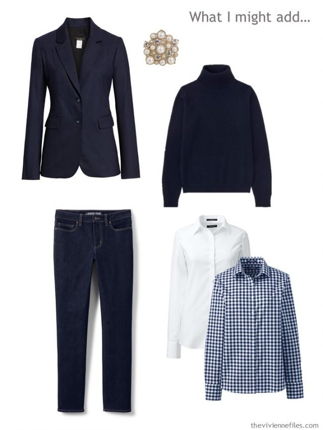 9. possible additions to a navy and white capsule wardrobe