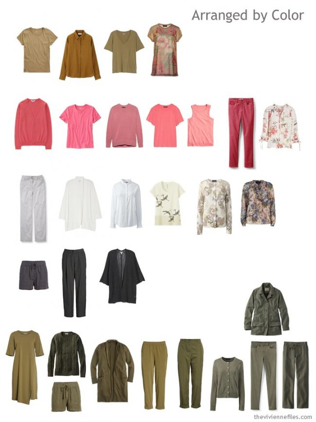 9. sorting clothes in a capsule wardrobe by color