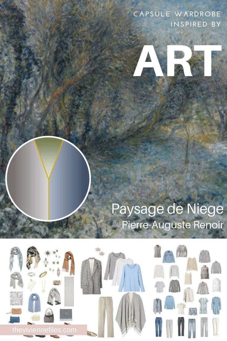 "CREATE A CAPSULE WARDROBE INSPIRED BY ""PAYSAGE DE NEIGE"" BY PIERRE-AUGUSTE RENOIR"