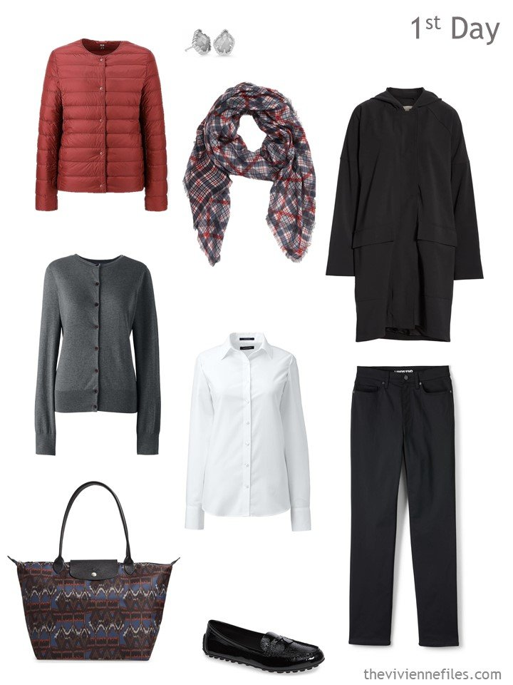 1. cold weather travel outfit in black, white, grey and russet
