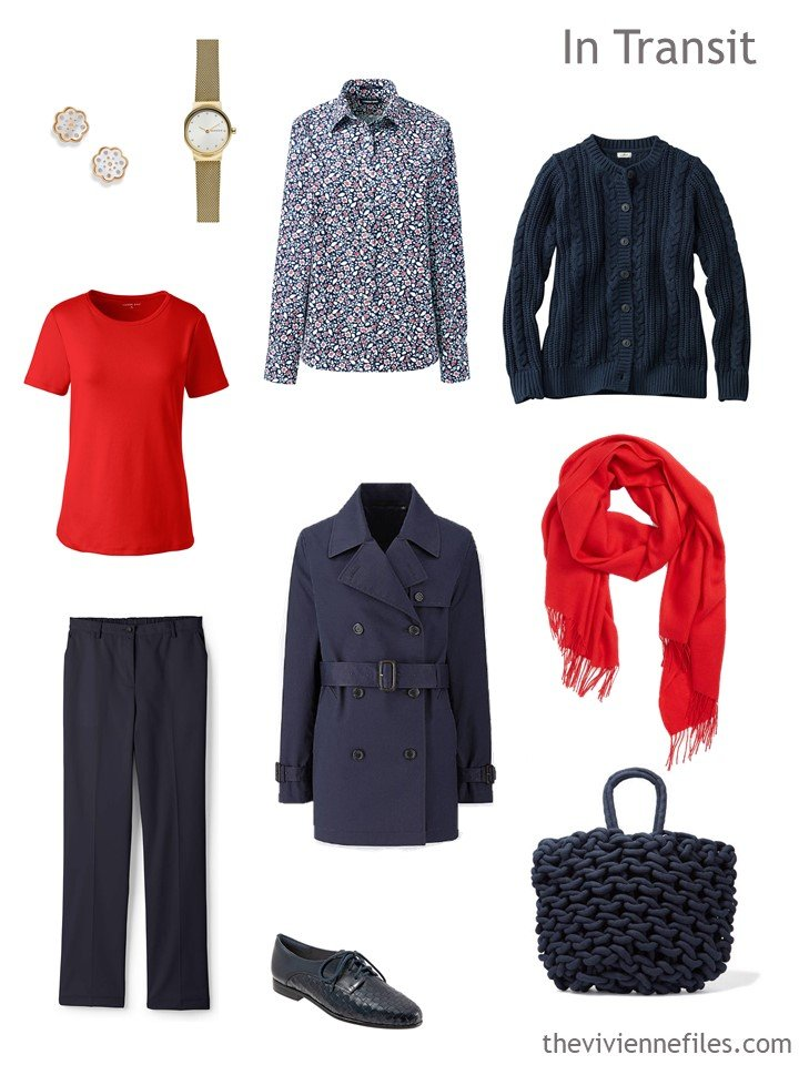 1. travel outfit for going from cold to warm weather