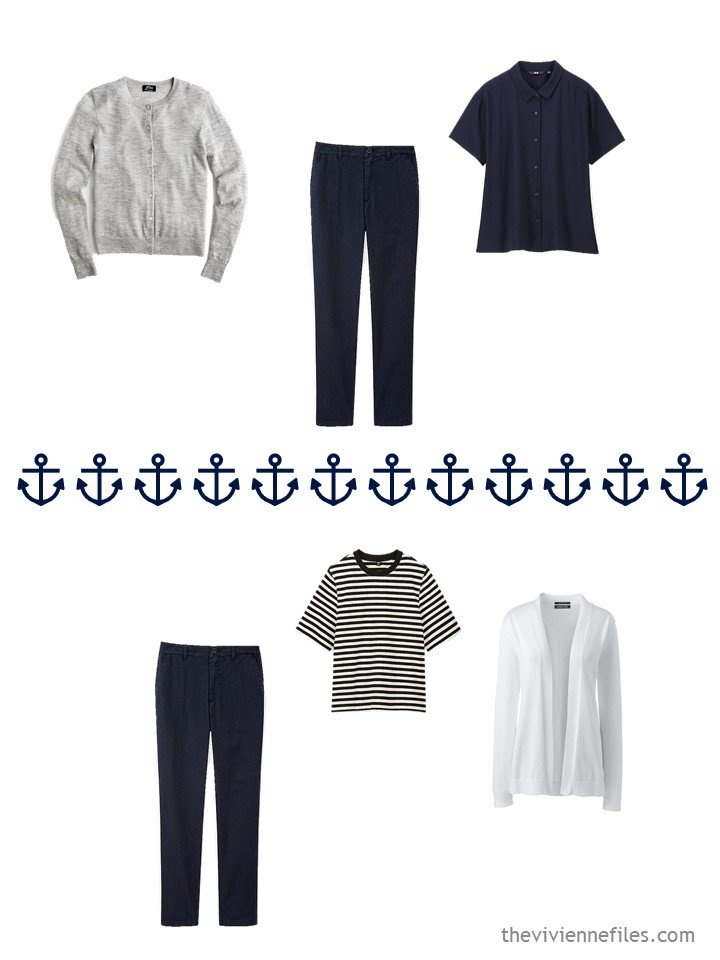 10. 2 ways to wear navy pants from a travel capsule wardrobe