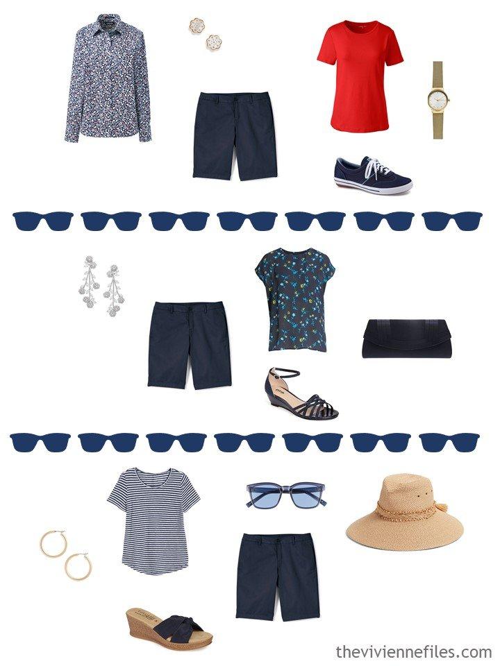 10. 3 ways to wear navy shorts from a travel capsule wardrobe