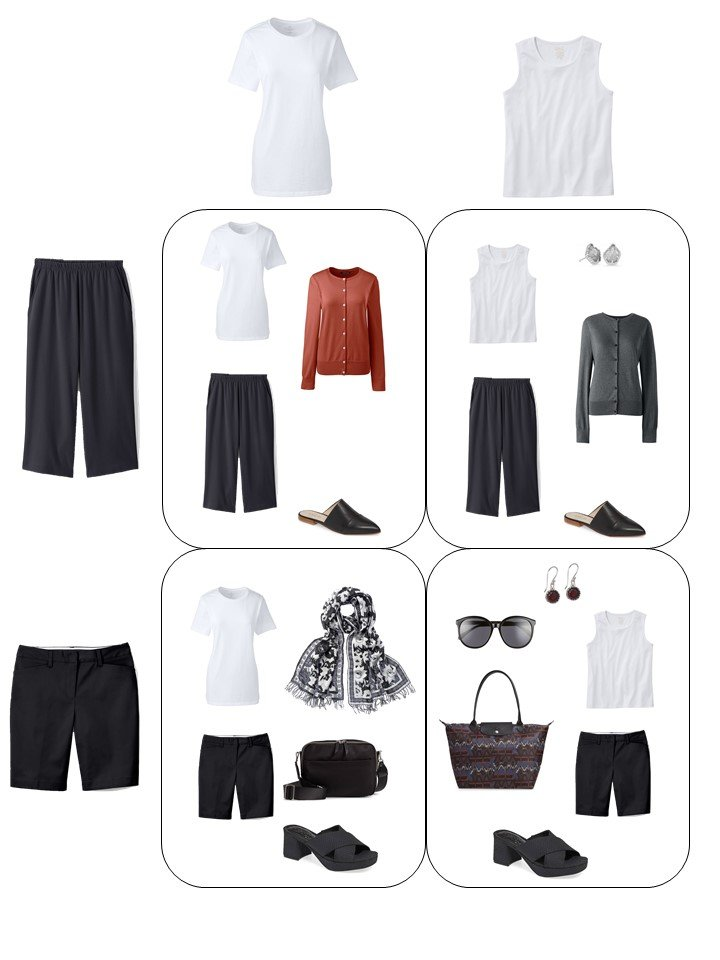10. 4 outfits from a travel capsule wardrobe in black, white, grey and red