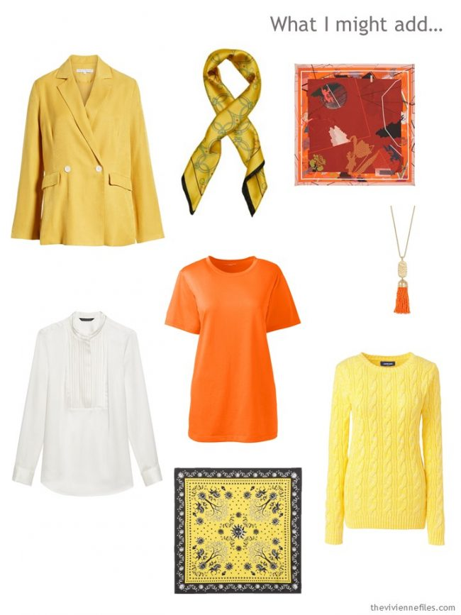 10. adding yellow and orange accents, and a white blouse, to a capsule wardrobe