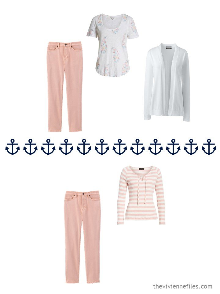 11. 2 ways to wear blush pants from a travel capsule wardrobe