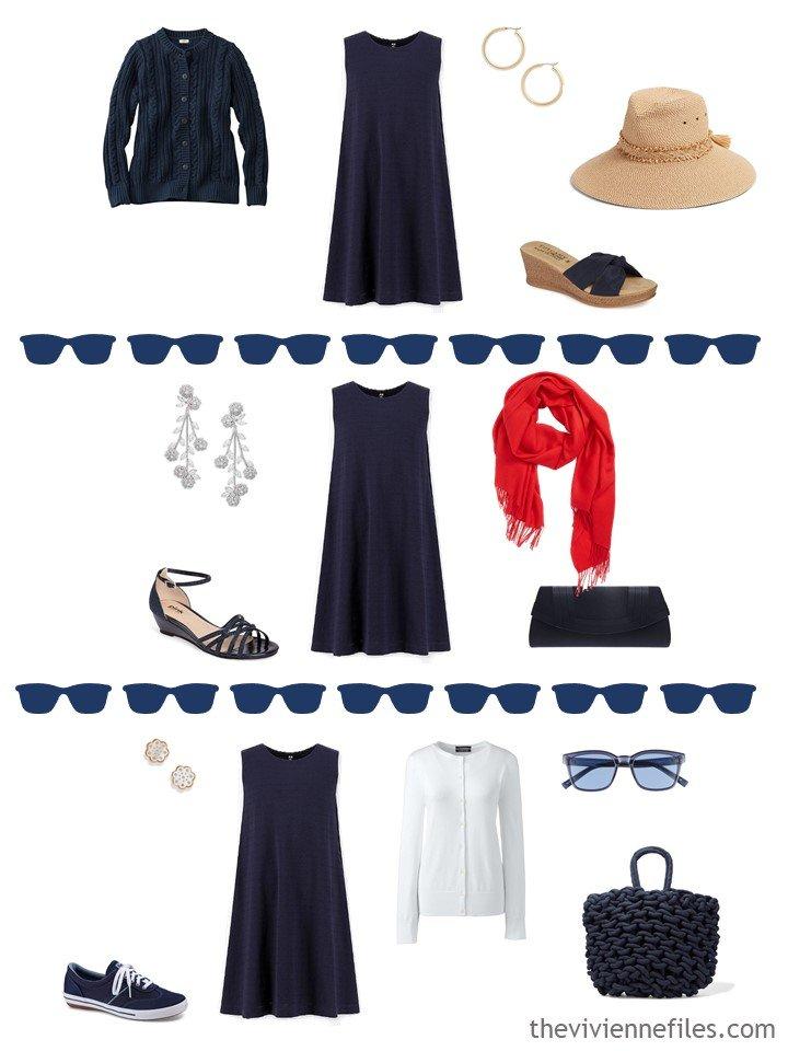 11. 3 ways to wear a navy sleeveless dress